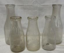 Lot of 5 Vintage Knoxville Dairies Milk Bottles