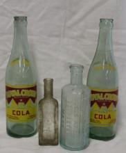 Lot of 4 Vintage & Antique Glass Bottles - RC Cola