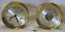 Vintage Brass Airguide Ships Bell Clock w/ Key +