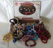Large Lot of Costume Jewelry in Vintage Cigar Box