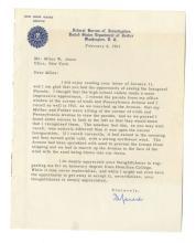 J. Edgar Hoover - First Director, FBI  - Authentic Autographed Letter (TLS) 1953