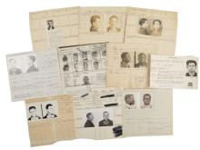 Police Booking Sheets - Burglary - Group of 10, Missouri State Penitentiary