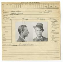 Police Booking Sheet - Andrew Molloy [?], 1930, Pennsylvania w/ Mugshots