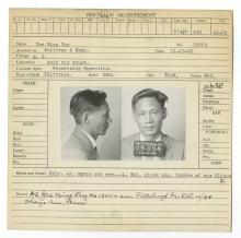 Police Booking Sheet - Yee Wing Toy, 1932, Pennsylvania w/ Mugshots