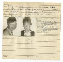 Police Booking Sheet - Clifford Paisley, 1932, Ohio w/ Mugshots & Fingerprints