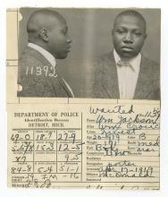 Police Booking Sheet - William Jackson, 1919, Michigan w/ Mugshots