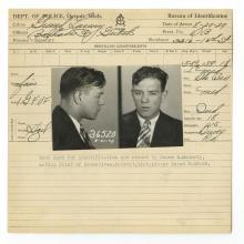 Police Booking Sheet - Grand Larceny -Willard Knight, 1929, Michigan w/ Mugshots