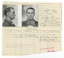 Police Booking Sheet - 1944, Missouri Penitentiary w/ Mugshots & Fingerprints