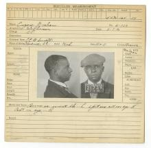 Police Booking Sheet - Eugene Graham 1930, Pennsylvania w/Mugshots, Fingerprints