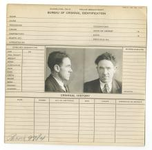 Police Booking Sheet - Bert Cline - 1931, Ohio w/Mugshots, Fingerprints
