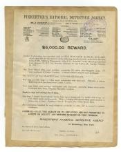 Wanted Posters - Pinkerton's Detective Agency - 1911, New York, $5,000 Reward