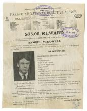 Wanted Notice - Pinkerton Detective Agency / $75 Reward - Samuel McDowell 1913