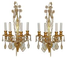 Good Pair Of Bronze And Beaded Crystal Wall