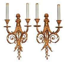Fine Pair Of Gilt Bronze 2-light Wall Sconces