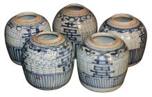 Group Of 5 Antique Chinese Export Blue And White
