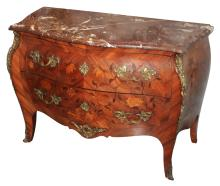 Fine French Inlaid Bombe Commode With Marble Top