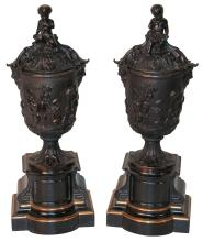 Fine Pair Of 19th C. French Bronze Capped Urns