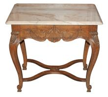 French Carved Oak Side Table With Marble Top