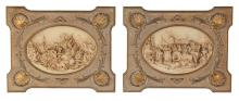 Unusual Pair Of Continental Faux Ivory Plaques