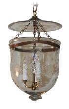 Bell Shaped Etched Glass Lantern