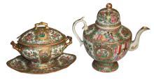 Rose Medallion Teapot And Creamer