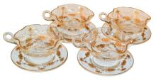Set Of 4 Gold Overlay Cups And Saucers