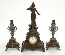3-piece French Spelter And Marble Garniture
