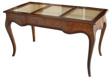 Italian Burl Wood Vitrine Table With Silk