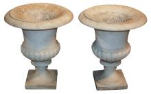 Pair Of French Carrara Marble Urns