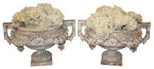 Pair Of 19th C. French Iron Garden Urns