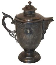 Antique English Engraved Pewter Pitcher