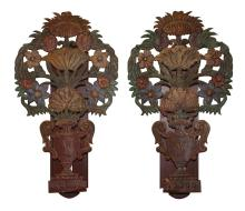 Pair Of Decorative Painted Tole Wall Sconces