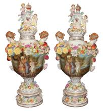 Pair Of Dresden Style Capped Urns