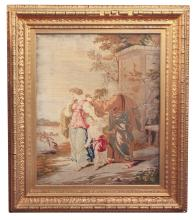 19th C. Needlepoint In Gilt Wood Frame