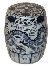 Chinese Export Blue And White Garden Seat