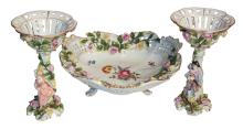 German Porcelain Dish Together With Pair