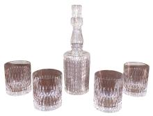 Waterford Style Decanter And Glasses