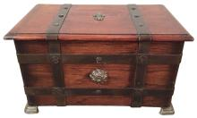 19th C. French Oak And Iron Trunk