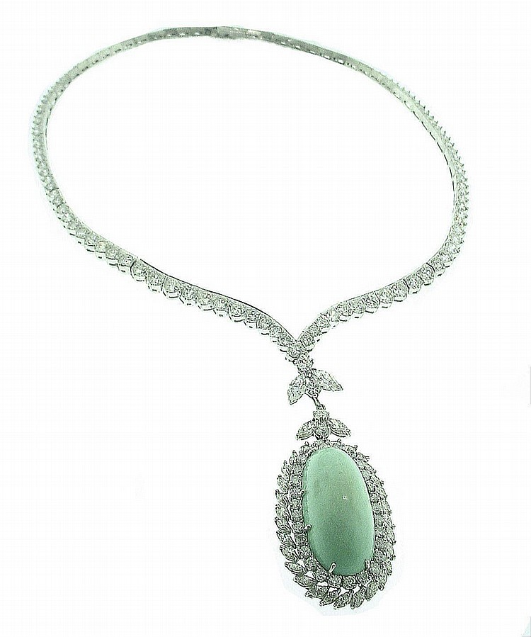 Estate Platinum Diamond & Turquoise Necklace