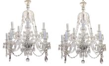 Pair Of English Waterford Style Chandeliers