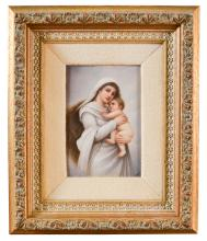 Kpm Style Porcelain Plaque Of Mother And Chilt