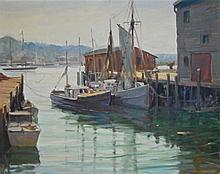 Rockport School Oil Painting, Fishing Boats