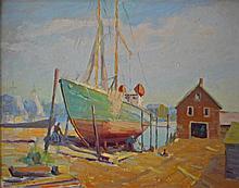 Rockport School Oil Painting, Wharf Scene, 1961