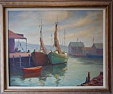 Rockport School Oil Painting, Harbor Scene