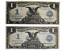 Two 1899 Black Eagle $1 Dollar Silver Certificates