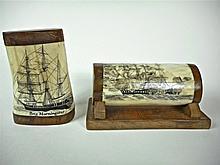 LAUBIN, J.R., Two Scrimshaw Objects