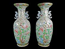 Important Pair of 19th C. Chinese Ground Vases