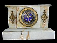 19th C. French Marble Mantel Clock, L Marti et Cie