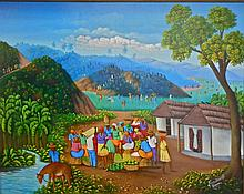 Oil on Canvas Painting- Primitive Carribean