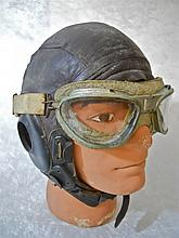 WWII U.S. Army Air Corps Aviator Cap and Goggles